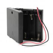 Батарейный отсек с проводами закрытый с переключателем ROBITON Bh4xAA/switch для 4 батареек или аккумуляторов размера АА или 14500