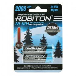 Аккумуляторы Ni-Mh металлогидридные Robiton 2000MHAA Siberia HR6 AA 2000 мАч 1,2 В 2шт