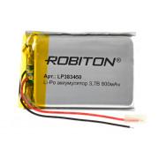Аккумулятор литий-полимерный Li-Pol Robiton 383450 3,7В 800мАч