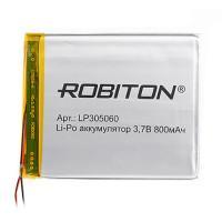 Аккумулятор Li-Pol Robiton LP305060  литий-полимерный 3.7 В плоский 800 мАч размер 3х50х60 мм с защитной платой