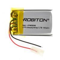 Аккумулятор Li-Pol Robiton LP402030 литий-полимерный 3.7 В плоский 180 мАч размер 4х20х30 мм с защитной платой