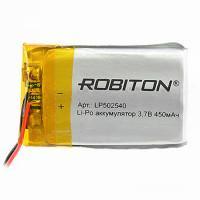 Аккумулятор литий-полимерный Li-Pol Robiton 3,7В 502540 450мАч