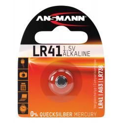 Алкалиновая батарейка Ansmann LR41 LR736 AG3 392 1,5В дисковая 1шт
