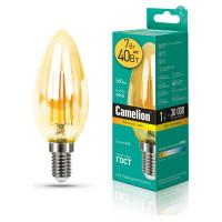 Лампа светодиодная СВЕЧА филаментная GOLD 13451 Camelion LED7-C35-FL-GD/830/E14 220В 7Вт Е14 3000К теплый белый