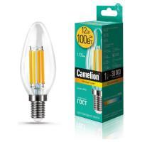 Лампа светодиодная СВЕЧА филаментная 13708 Camelion LED12-C35-FL/830/E14 220В 12Вт Е14 3000К теплый белый