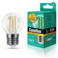 Лампа светодиодная ШАР филаментная 13457 Camelion LED7-G45-FL/830/E27 220В 7Вт Е27 3000К теплый белый