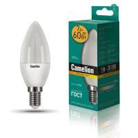 Лампа светодиодная СВЕЧА 12073 Camelion LED7-C35/830/E14 220В 7Вт E14 3000K теплый белый