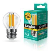 Лампа светодиодная филаментная Camelion 220В 12Вт (100Вт) Е27 3000К теплый белый арт.13714