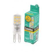 Лампа светодиодная G9 Camelion капсульная прозрачная 220В 5Вт (40Вт) 3000К теплый белый арт.13704