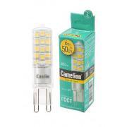 Лампа светодиодная G9 Camelion капсульная прозрачная 220В 6Вт (50Вт) 3000К теплый белый арт.13706