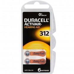 Батарейки для слуховых аппаратов Duracell Hearing AID 312 PR41 1,45В 6шт (пластиковый контейнер)