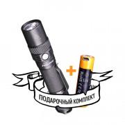 Ручной карманный маленький фонарь Fenix FD30 светодиодный Cree XP-L HI черный IP68 + аккумулятор