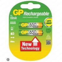 Аккумуляторы металлогидридные Ni-MH GP Rechargeable AAA 650мАч 1,2В 2шт