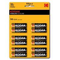 Батарейки алкалиновые Kodak XTRALIFE ALKALINE AA LR6 1.5В 12шт (6 отрывных блистеров по 2 шт)