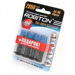 Аккумуляторы Ni-Mh металлогидридные Robiton 2850MHAA AA 2850 мАч 1,2 В 4шт в пластиковом футляре