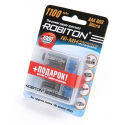 Аккумуляторы Ni-Mh металлогидридные Robiton AAA 1100MHAAA 1100 мАч 1,2 В 4шт в пластиковом футляре