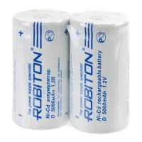 Аккумуляторы Ni-Cd никель-кадмиевые Robiton 5000NCD SR2 D 5000 мАч 1,2 В плоский плюсовой контакт 2шт