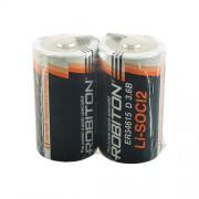 Специальная литиевая батарейка Li-SOCl2 Robiton ER34615 D с лепестковыми выводами 3,6В 2шт