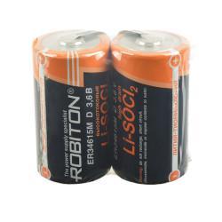 Специальная литиевая высокотоковая батарейка Li-SOCl2 Robiton ER34615 D с лепестковыми выводами 3,6В 2шт