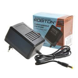 Блок питания трансформаторный стабилизированный Robiton AB9-800S 9В отрицательная полярность 800мА 12х5,5х2,1мм