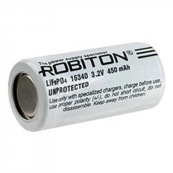 Аккумулятор LiFePO4 литий железофосфатный Li-Ion Robiton 16340 450мАч 3,2мАч