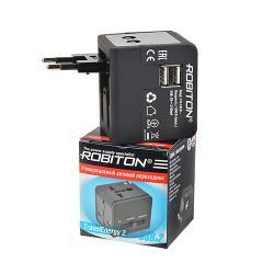 Сетевая вилка универсальный переходник 110-220 В для розетки Robiton TravelEnergy 2 с двумя USB-разъемами