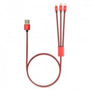 Универсальный кабель питания USB - Micro-USB / Type-C / Apple 8pin Robiton 1м красный
