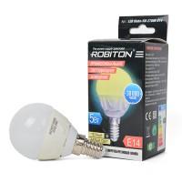 Лампа светодиодная Robiton E14, 5Вт, 2700К, шар