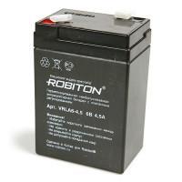 Свинцово-кислотный герметичный необслуживаемый аккумулятор 6В 4.5 Ач Robiton VRLA6-4.5
