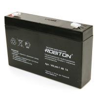 Свинцово-кислотный герметичный необслуживаемый аккумулятор Robiton 6-7 VRLA 6В 7Ач 1шт