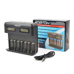 Автоматическое зарядное устройство для Ni-Mh, Ni-Cd Robiton VolumeCharger LCD на 8 аккумуляторов AA, AAA, SC, C, D