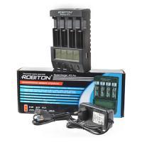 Интеллектуальное зарядное устройство Robiton MasterCharger 4T5 Pro с дисплеем для Ni-Mh Ni-Cd Ni-Zn Li-Ion Li-pol LiFePo ICR IMR аккумуляторов на 4 слота