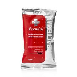 Влажные антибактериальные салфетки Premial в упаковке 15 шт