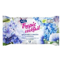 Влажные антибактериальные салфетки AURA Tropic Cocktail в упаковке 60 шт
