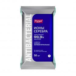Влажные антибактериальные салфетки Premial ионы серебра в упаковке 15 шт