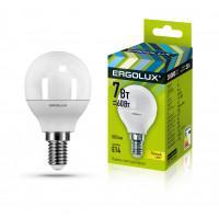 Лампа светодиодная 12142 ERGOLUX LED-G45-7W-E14-3K 220В 7Вт E14 3000K теплый белый