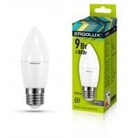 Лампа светодиодная 13172 ERGOLUX LED-C35-9W-E27-6K 220В 9Вт E27 6500K холодный белый