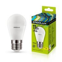 Лампа светодиодная 13630 ERGOLUX LED-G45-11W-E27-3K 220В 11Вт E27 3000K теплый белый