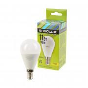 Лампа светодиодная ERGOLUX LED-G45-11W-E14-3K 220В 11Вт E14 3000K теплый белый арт.13627