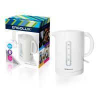 Электрический чайник пластиковый ERGOLUX ELX-KH01-C01 1.7л 2300Вт белый арт13114