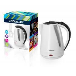Электрический чайник пластиковый ERGOLUX ELX-KP02-C32 1.8л 2300Вт белый+черный арт13119