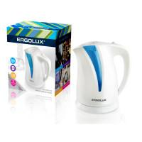 Электрический чайник с подсветкой пластиковый ERGOLUX ELX-KP03-C35 2л 2300Вт белый+голубой арт13115