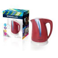 Электрический чайник с подсветкой пластиковый ERGOLUX ELX-KP03-C73 2л 2300Вт вишневый+серый арт13116