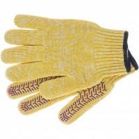 Перчатки трикотажные усиленные, гелевое ПВХ-покрытие, 7 класс, желтые Россия Сибртех 68180