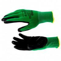 Перчатки полиэфирные с черным нитрильным покрытием маслобензостойкие, L, 15 класс вязки Palisad 67865