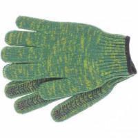 Перчатки трикотажные усиленные, гелевое ПВХ-покрытие, 7 класс, зеленые Россия Сибртех 68184