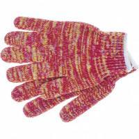 Перчатки трикотажные усиленные, гелевое ПВХ-покрытие, 7 класс, красно-желтый меланж Россия Сибртех 68181