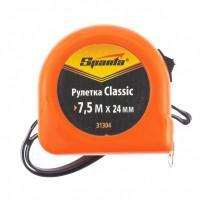 Измерительная рулетка Sparta Classic 31304 Sparta 7,5м полотно 24мм пластиковый корпус, усиленная возвратная пружина