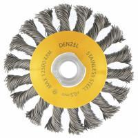 """Щетка для УШМ, 100 мм, """"Тарелка"""", крученая нержавеющая проволока 0.5 мм, М14 Denzel 746093"""