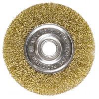 Щетка для УШМ, 200 мм, посадка 22,2 мм, плоская, латунированная витая проволока Matrix 74668